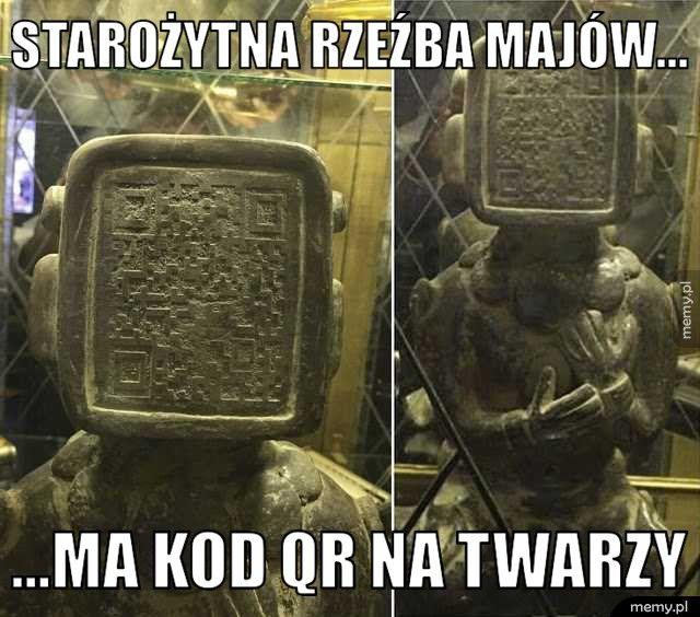 Starożytna rzeźba majów... ...Ma kod qr na twarzy