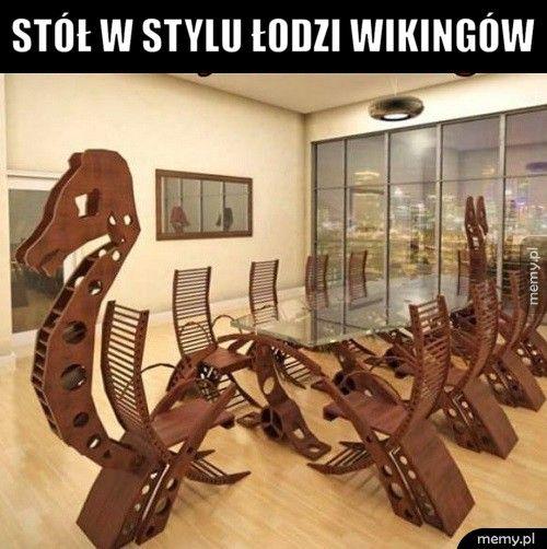 Stół w stylu łodzi wikingów
