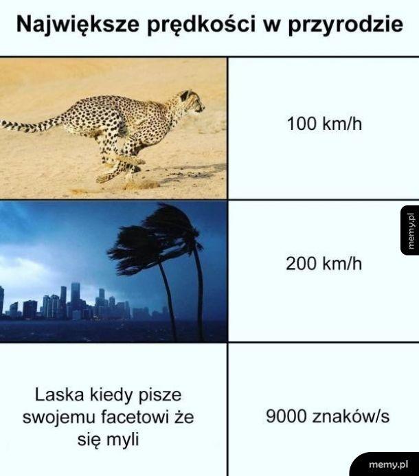 Prędkość w przyrodzie