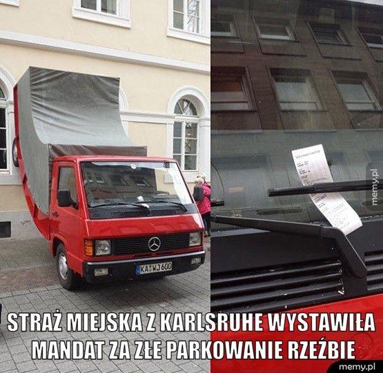 Mandat za złe parkowanie.