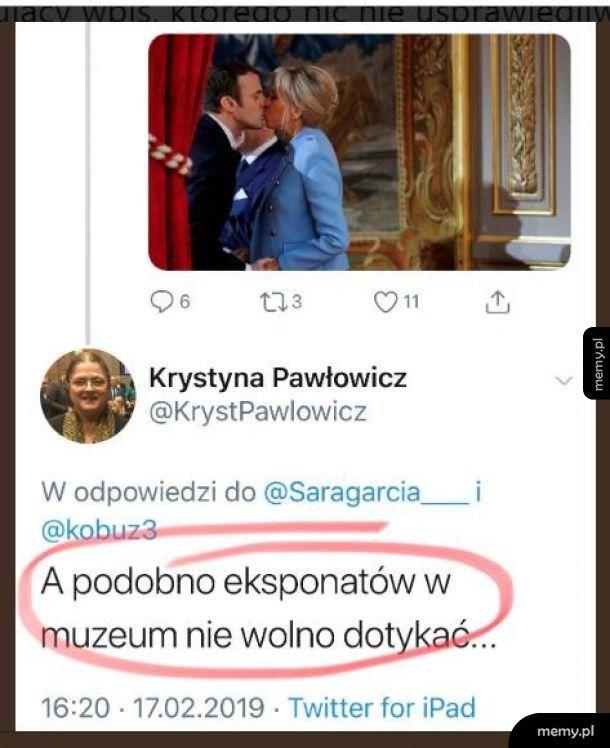 Krystyna Pawłowicz, rok starsza od prezydentowej Francji