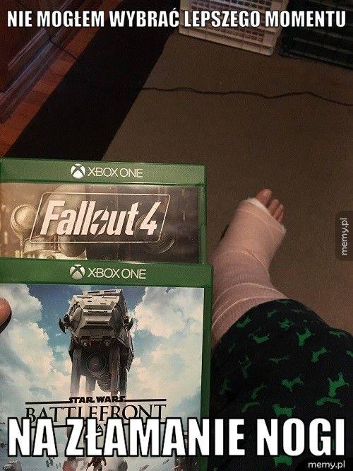 Nie mogłem wybrać lepszego momentu  Na złamanie nogi