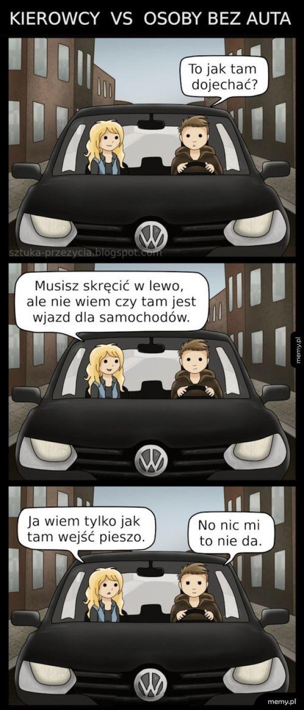 Kierowcy vs osoby bez auta