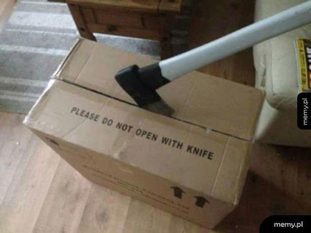 Nie otwierać nożem
