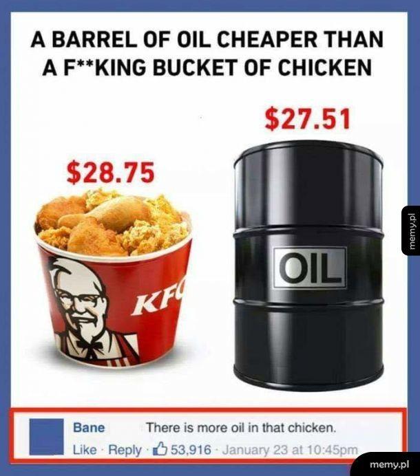 Baryłka ropy jest tańsza niż kubełek KFC