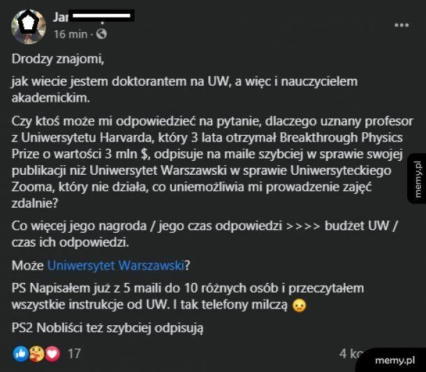 Noblista ma więcej szacunku do ciebie niż uczelnia
