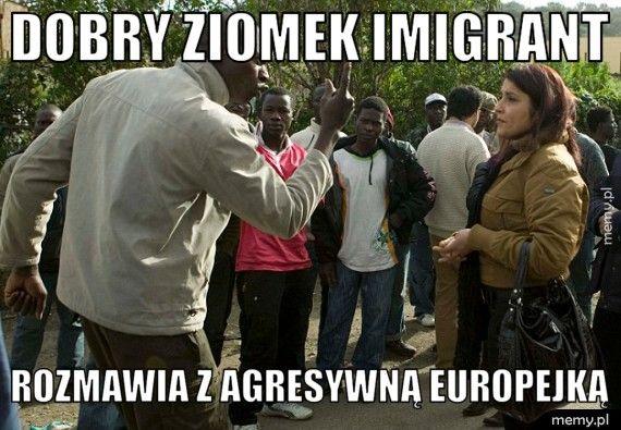 Dobry ziomek imigrant Rozmawia z agresywną europejką