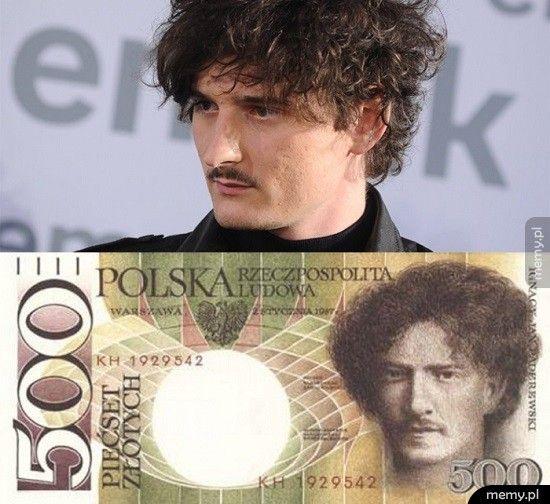 Tak wyglądał projekt banknotu 500 zł z czasów PRL z wtedy jeszcze mało znanym artystą Dawidem Podsiadło.