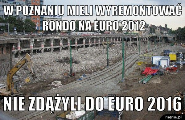 W poznaniu mieli wyremontować            rondo na eur Nie zdążyli do euro 2016