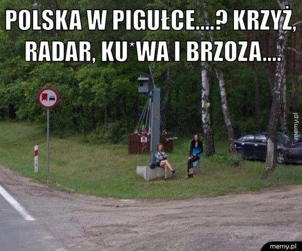 Polska w pigułce....? Krzyż, radar, ku*wa i brzoza....