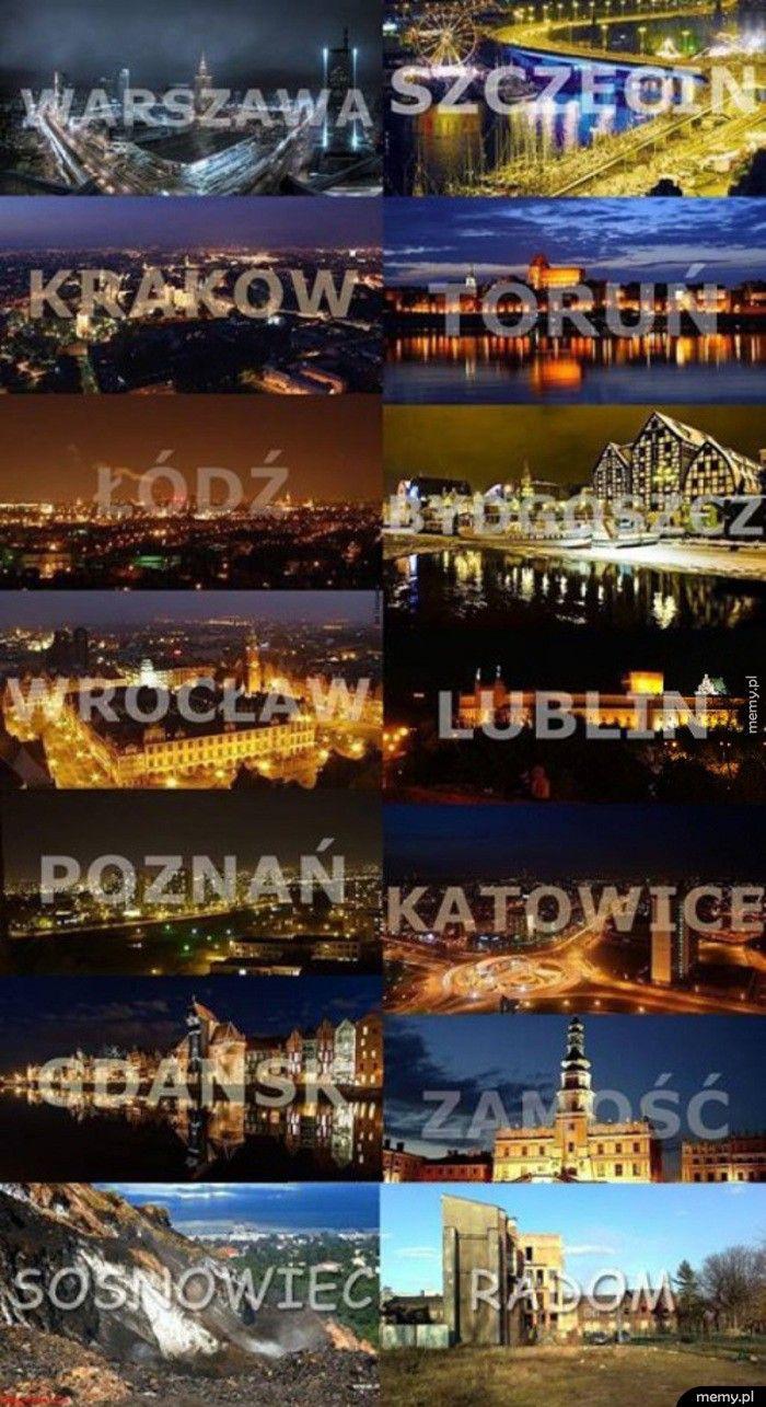Polskie miasta nocą