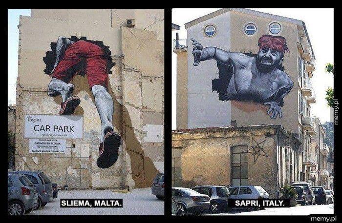 Murale na Malcie i we Włoszech