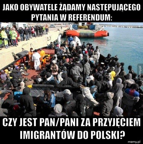 Jako obywatele żądamy następującego pytania w referendum:  Czy jest Pan/Pani za przyjęciem imigrantów do polski?