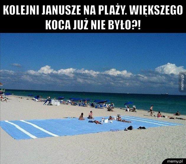 Kolejni Janusze na plaży. Większego koca już nie było?!