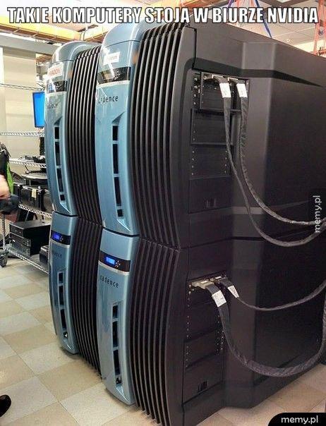 Takie komputery stoją w biurze Nvidia