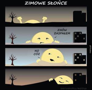 Zaspane zimowe słońce