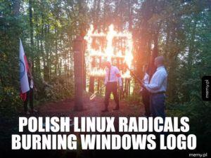 Polish linux radicals burning windows logo