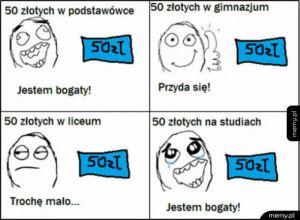 50 zł ma wiele znaczeń