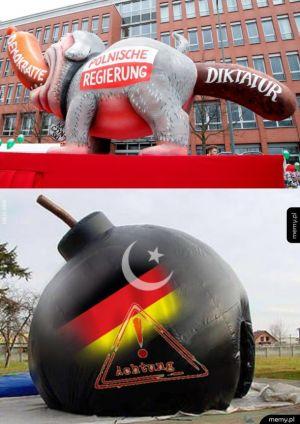 Odpowiedź na karykaturę polskiego rządu na karnawałowej paradzie w Niemczech