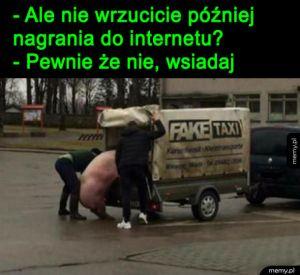 Fejk taksi - Świnia wchodząca do fake taxi