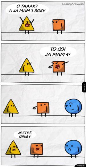 Przyganiał trójkąt kwadratowi