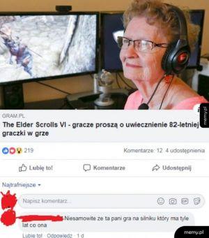 82-letnia graczka Elder Scrolls