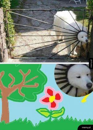 Słoneczko na dziecięcym rysunku