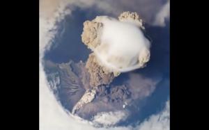 Wulkan widok ze stacji kosmicznej