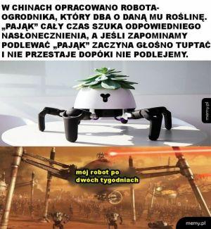 Robot dbający o rośliny