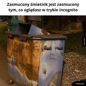Zasmucony śmietnik