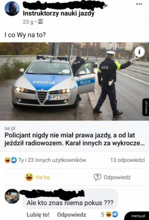 Policjant bez prawa jazdy