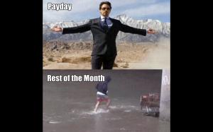 Wypłata vs reszta miesiąca