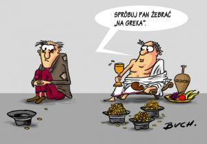 """Żebranie """"Na Greka""""."""