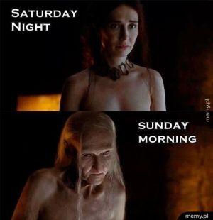 Kobieta wieczorem i rano