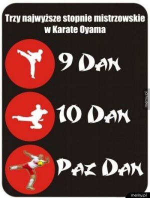 3 najwyższe stopnie w karate