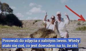 Pozowali do zdjęcia z zabitym lwem. Wtedy w 60 sekundzie za ich plecami pojawił się ON…